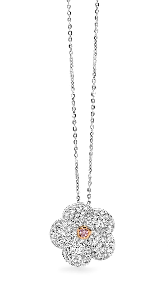 Pink Diamond Flower Necklace