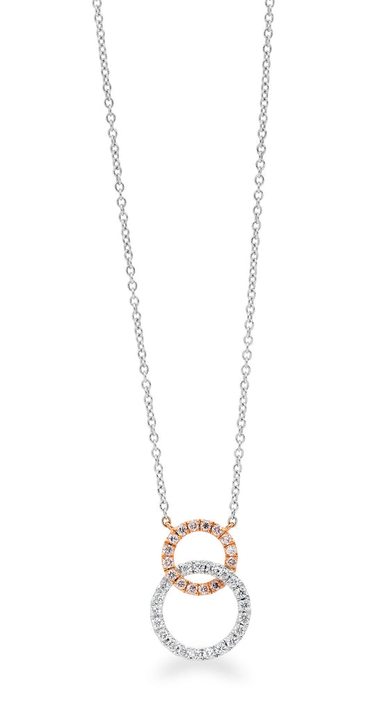 Interlocking Pink & White Diamond necklace