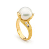 11-12mm Pearl and 3 Round Diamonds Ring
