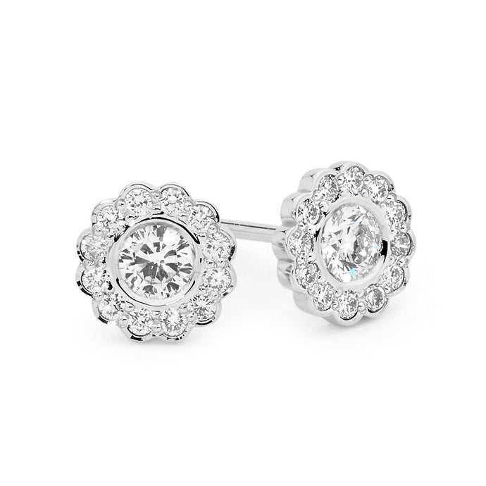 Diamond Rosette Stud Earrings