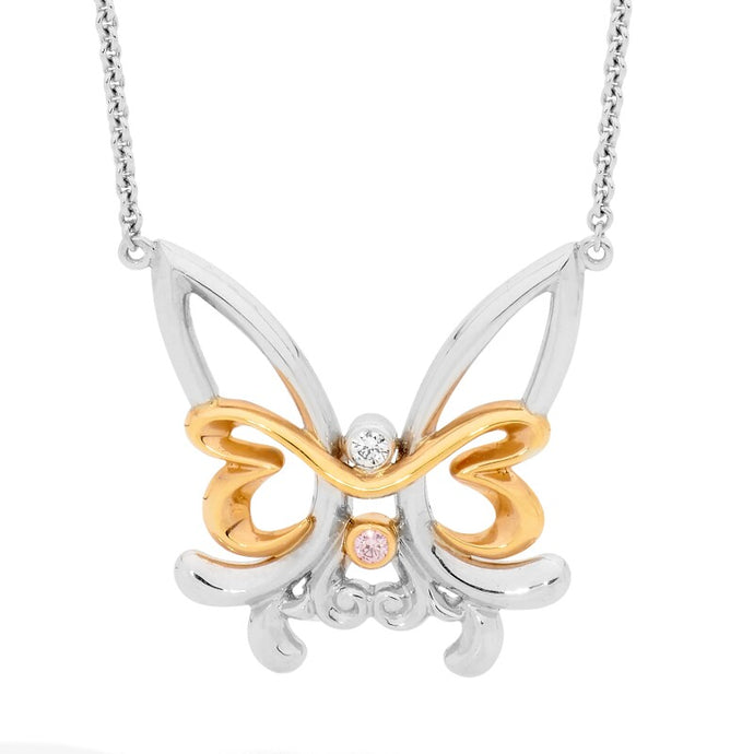 Pink Diamond Butterfly Pendant