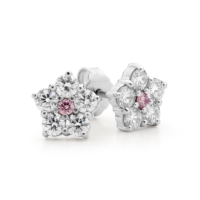18ct white gold pink and white diamond earrings