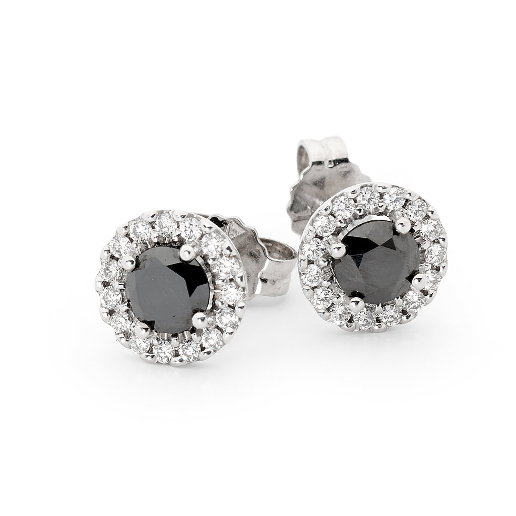 Black Round Cut Diamond Earrings