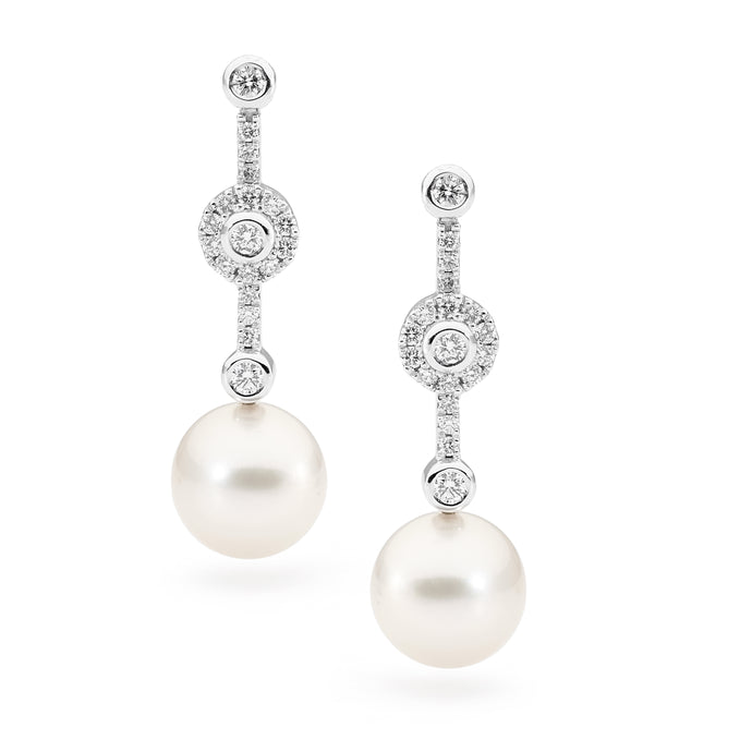 Australian South Sea Pearl and Diamond Drop Earrings