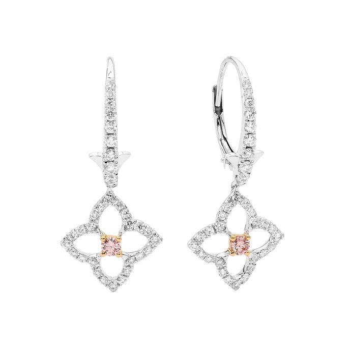 Rose Gold Pink and White Diamond Earrings