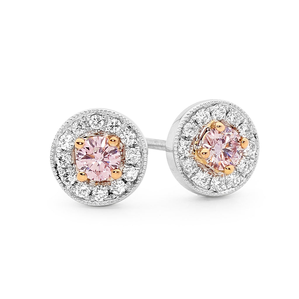 Pink Diamond Halo Earrings