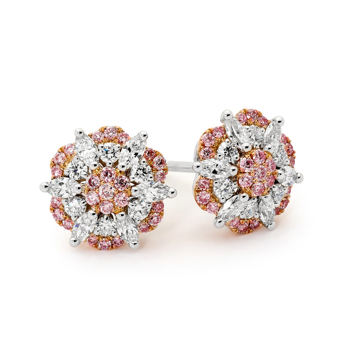 18ct White & Rose Gold on Pink Diamond Earrings