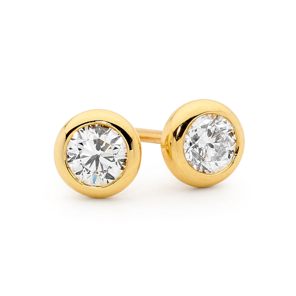 18ct White and Yellow Gold Round Diamond Earrings – Linneys Jewellery c8504a066