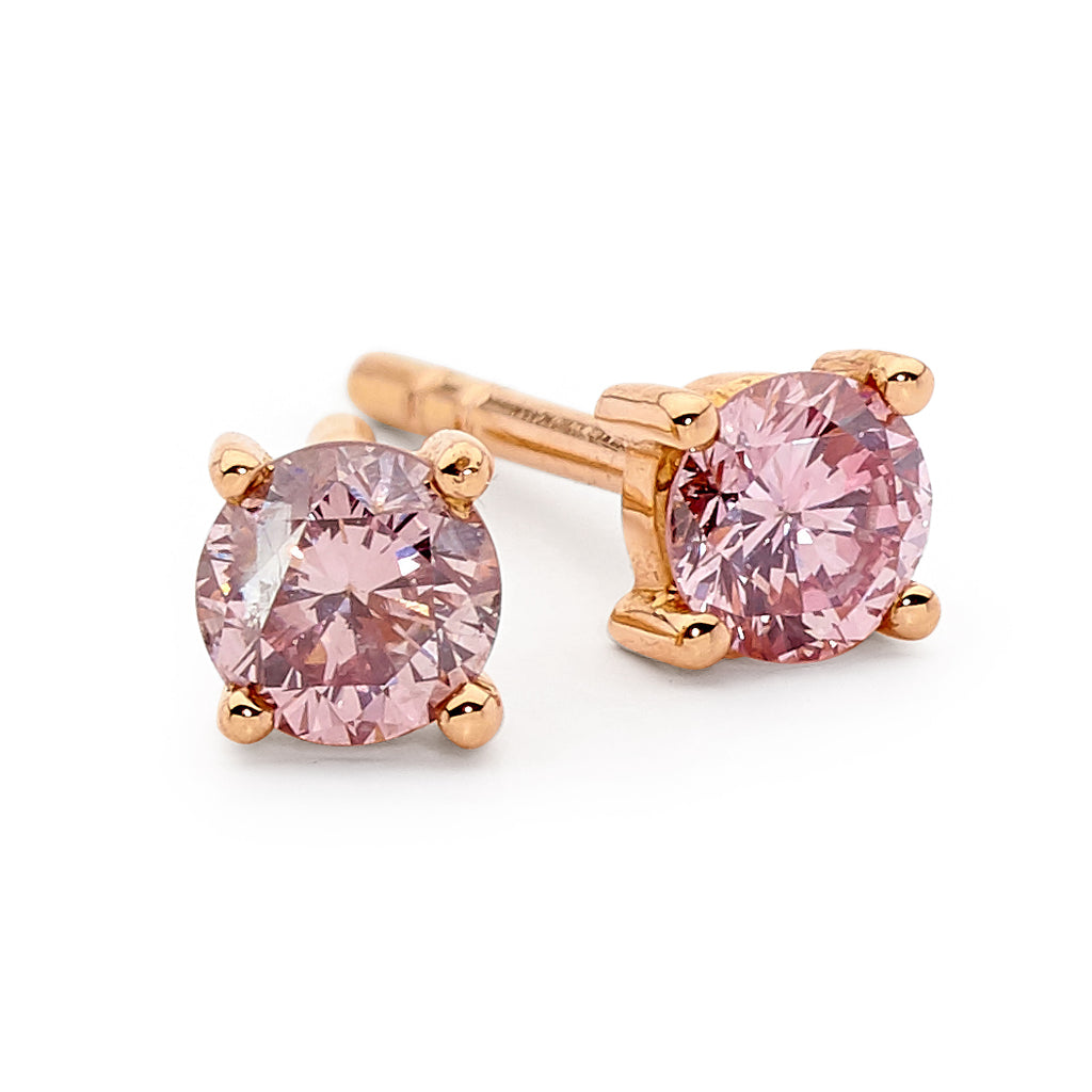 pink diamond stud earrings � linneys jewellery