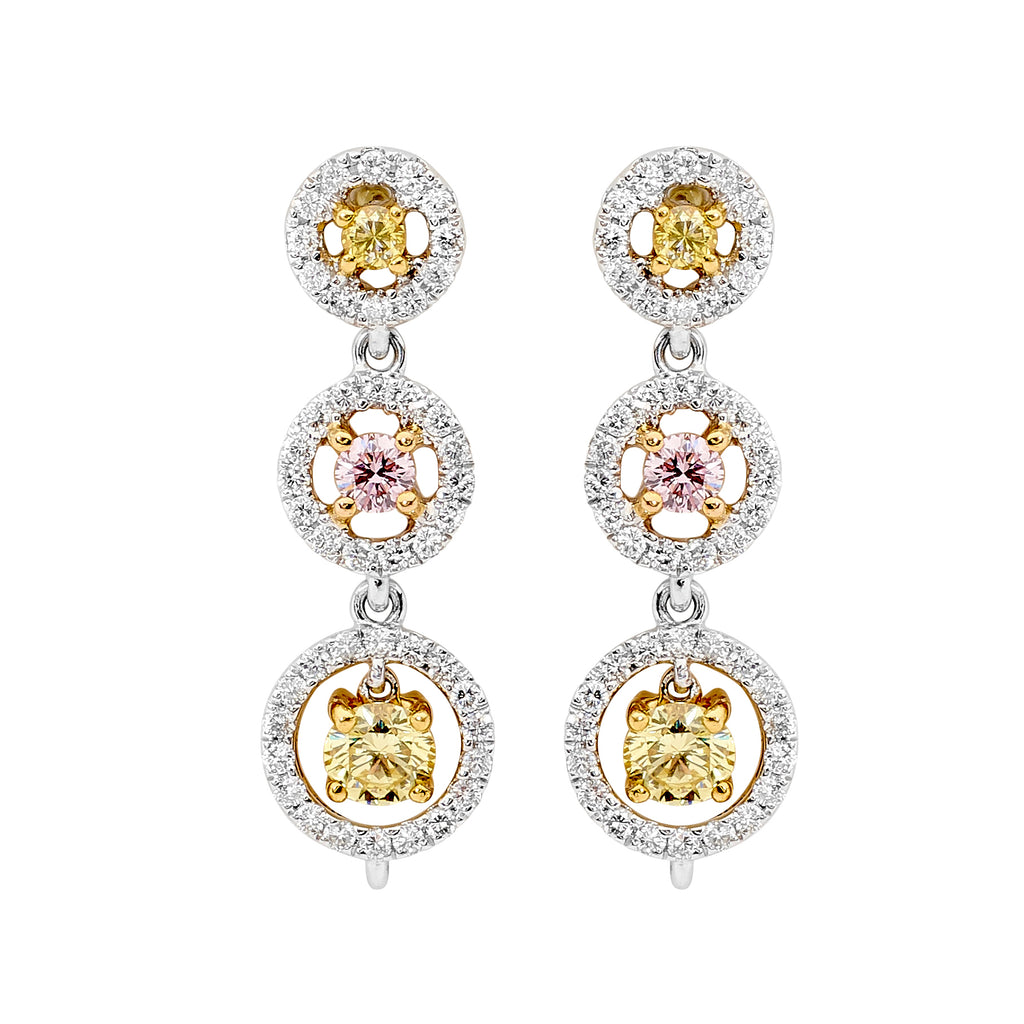 18ct White Gold, yellow and pink  and Diamond Earrings