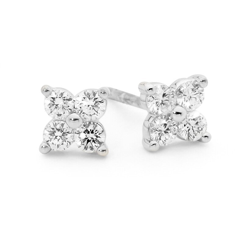 Trefoil Diamond Stud Earrings
