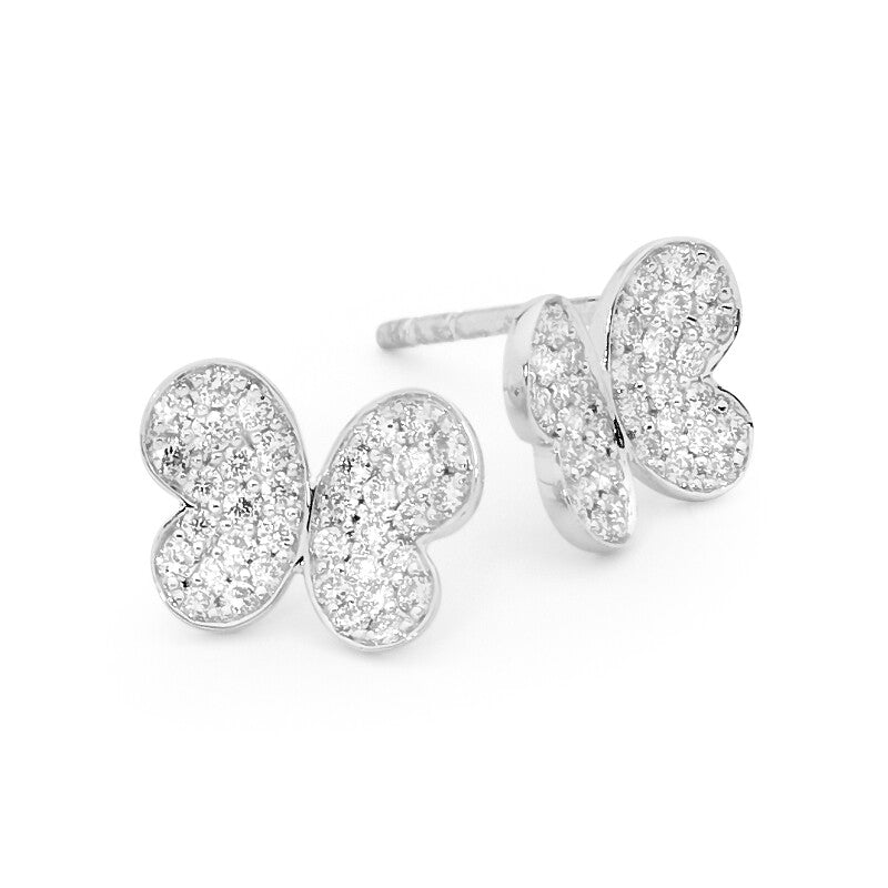 Pave Butterfly Stud Earrings