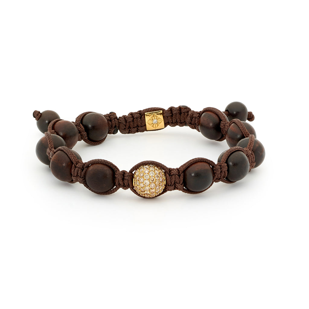 Gold, Diamond and Ebony Shamballa Bracelet