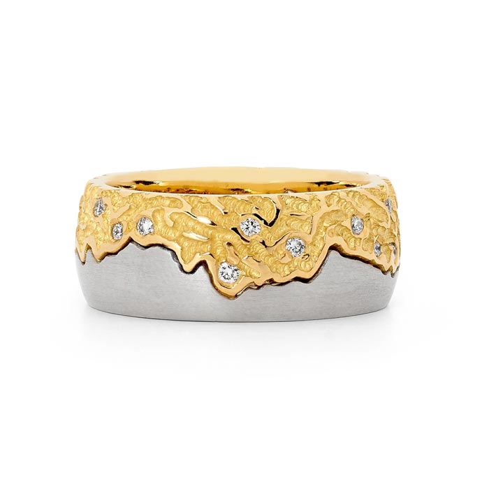 Gold and diamond mens ring