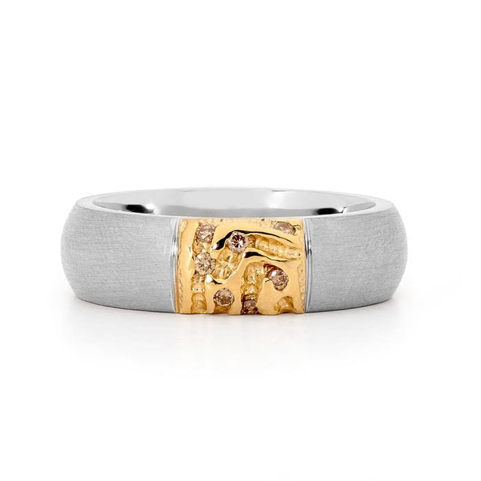 Polished Gold and Diamond  | Mens Ring