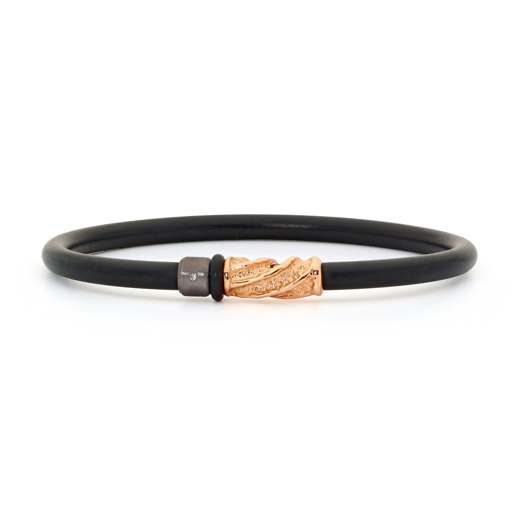 18ct Rose Gold, Tantalum and Diamond Neoprene Bangle