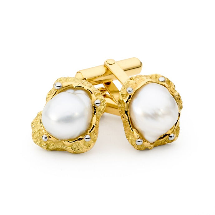Yellow Gold Pearl Cufflinks