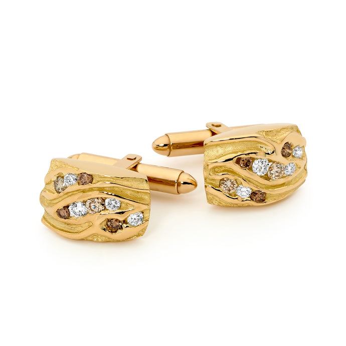 18ct Yellow Gold and Diamond Cufflinks