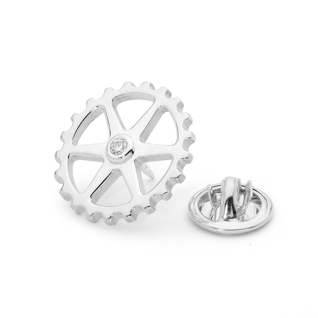Bike Cog Diamond Lapel Pin  jewellery stores perth perth jewellery stores australian jewellery designers online jewellery shop perth jewellery shop jewellery shops perth perth jewellers jewellery perth jewellers in perth diamond jewellers perth  mens jewellery perth