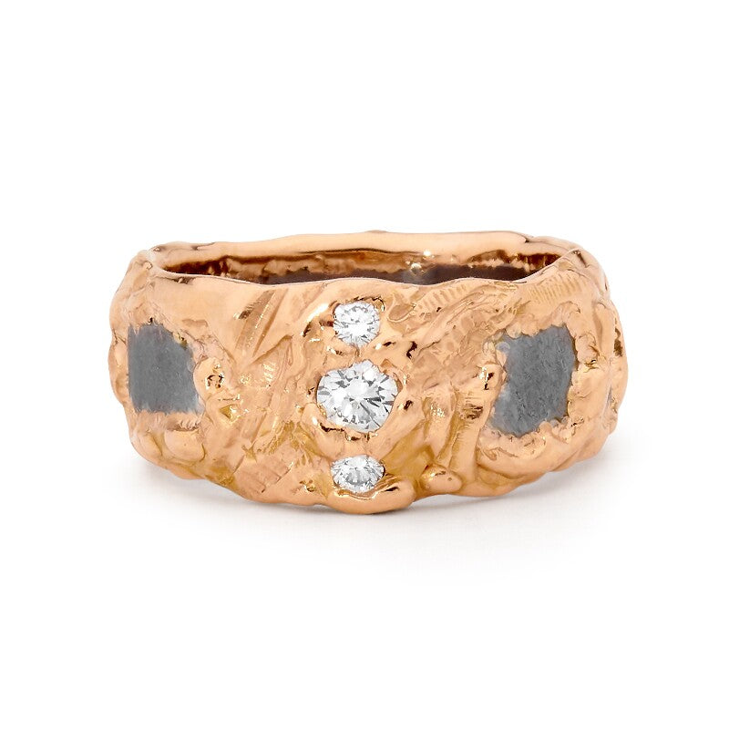 Raw Tantalum and Rose Gold Ring