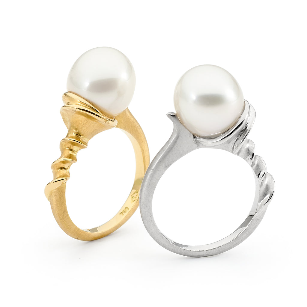 Silver and Gold Australian South Sea Pearl Ring Perth