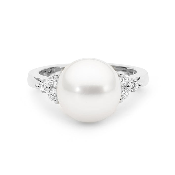 White Gold Diamonds Pearl Ring