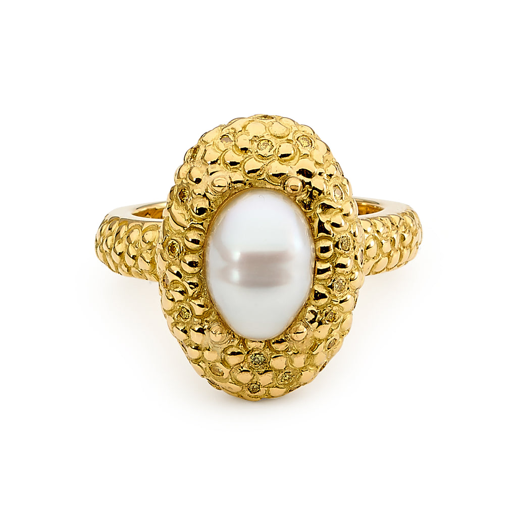 Yellow Diamond and Pearl Ring