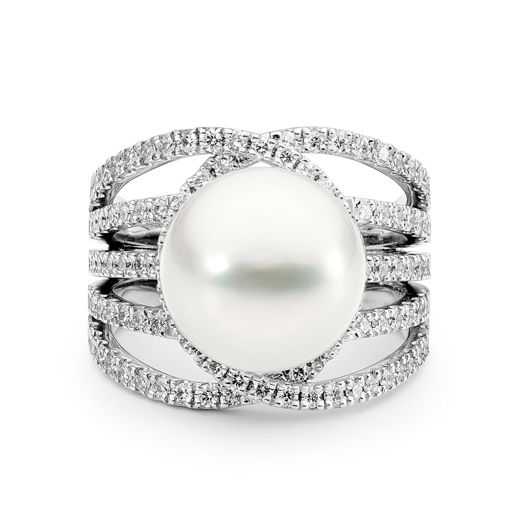 18ct White Gold, Pearl and Diamond Ring