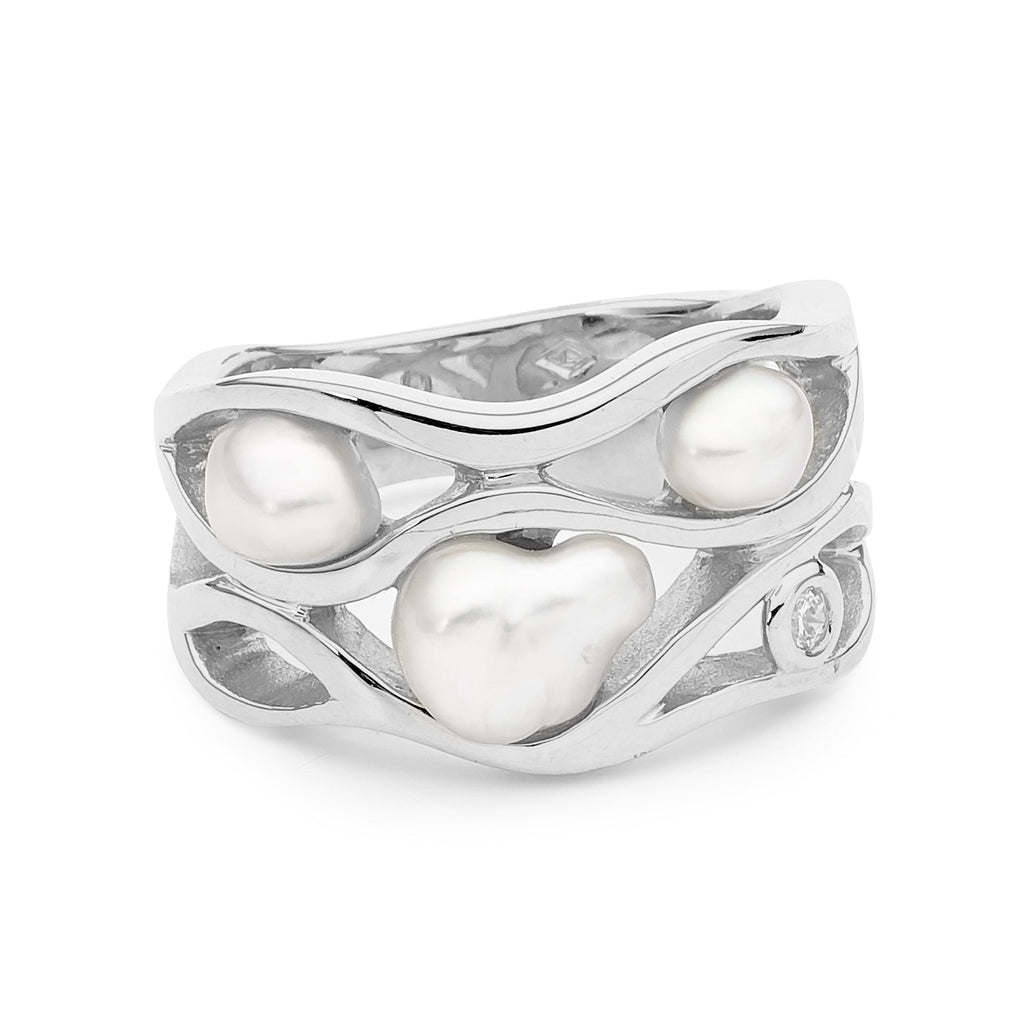 Seedless Pearl and Diamond Ring