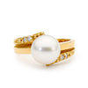 10-11mm Pearl and Side Diamond Ring