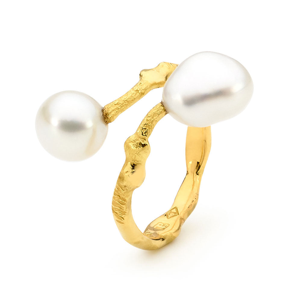 Freeform Keshi Pearl Twist Ring