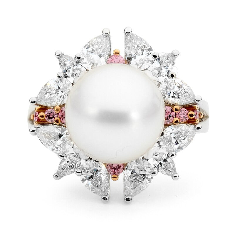 Pink and White Diamond & Pearl Ring