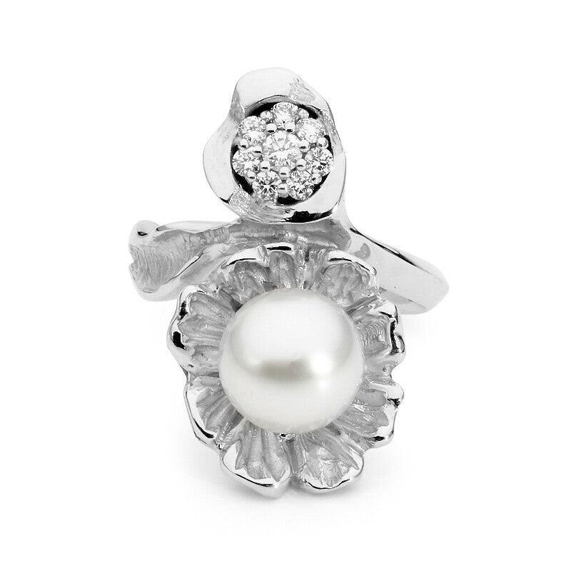 Flora Pearl and Diamond Ring