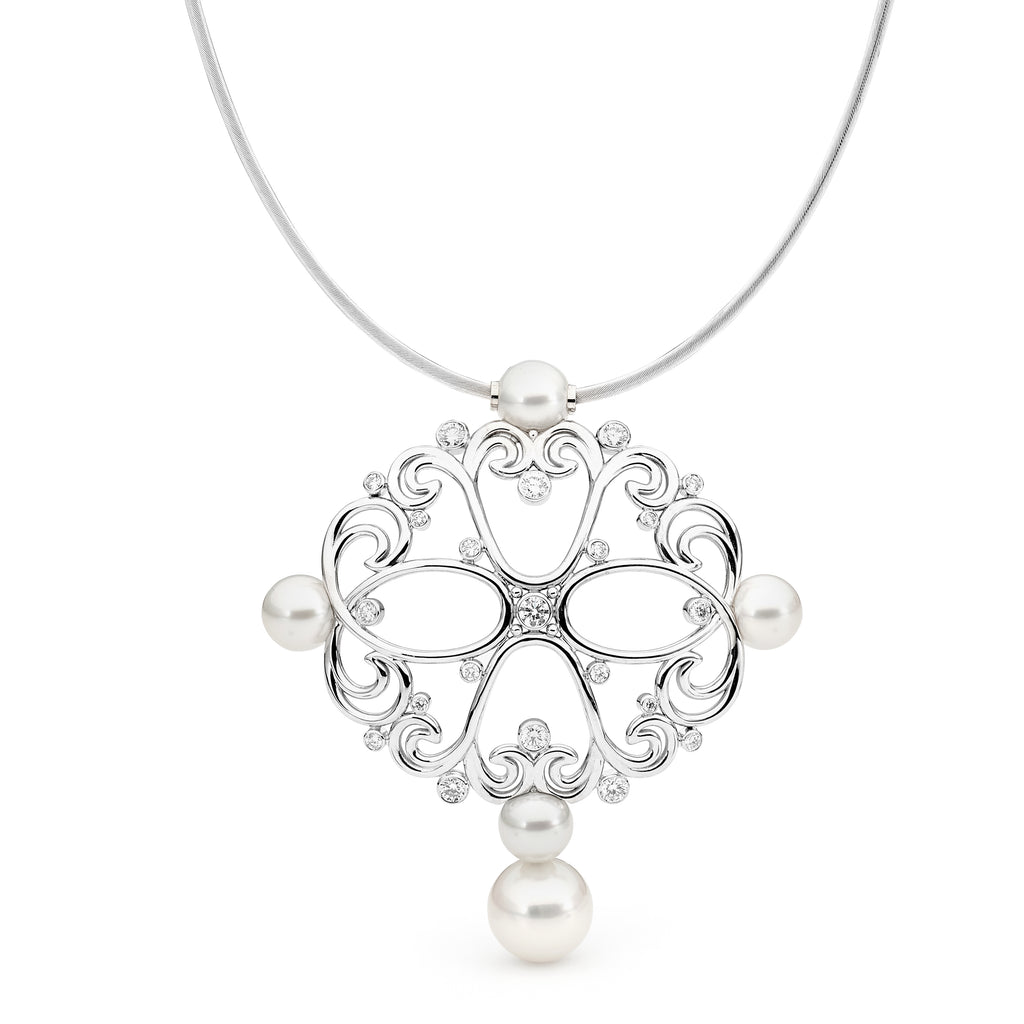 Unique Pearl & Diamond Pendant