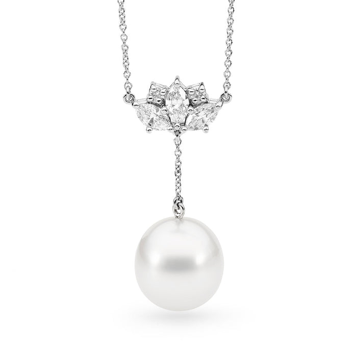 Diamond and Hanging Pearl Necklace Pearl Pendant
