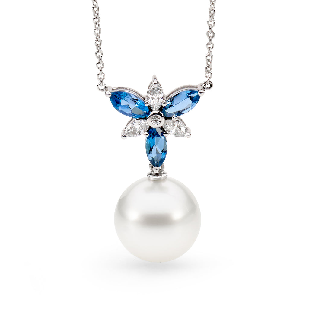 Aquamarine, Diamond and Pearl Necklace