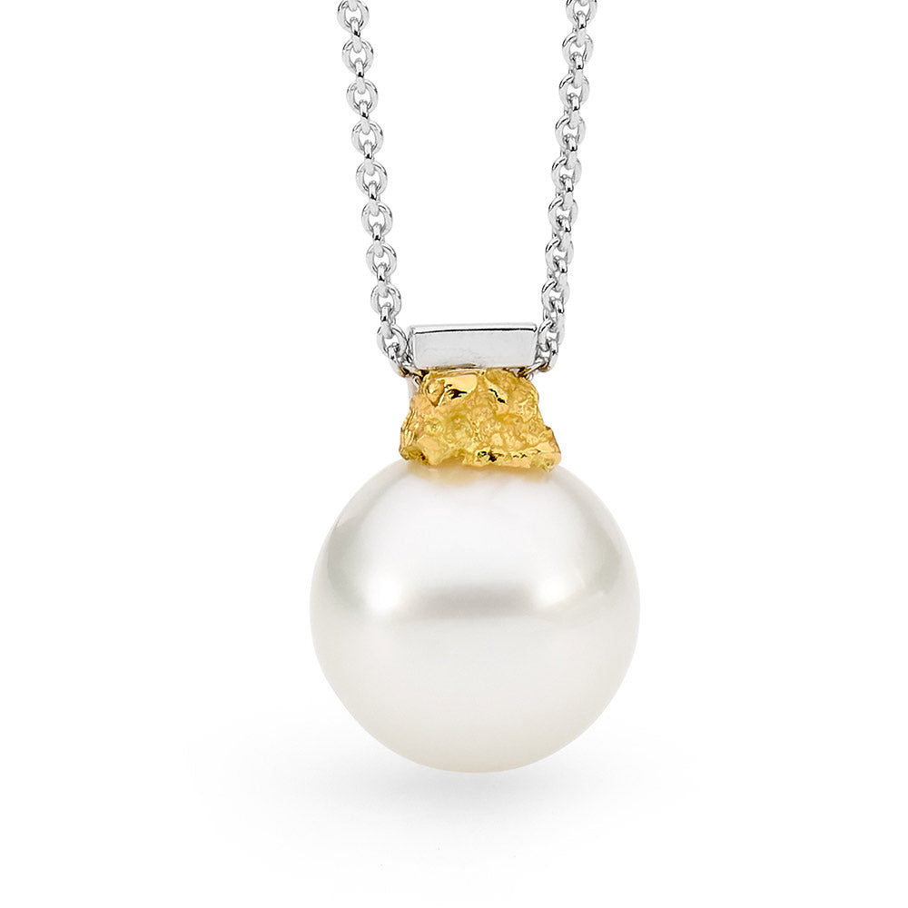 Gold Nugget Inspired Australian Pearl Pendant  online jewellery shop buy jewellery online jewellers in perth perth jewellery stores wedding jewellery australia pearl jewellery
