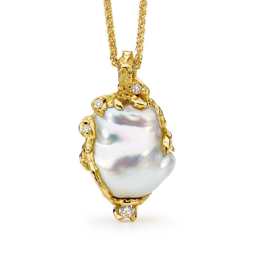 Hand Carved Pearl and Diamond Pendant online jewellery shop buy jewellery online jewellers in perth perth jewellery stores wedding jewellery australia gold jewellery perth