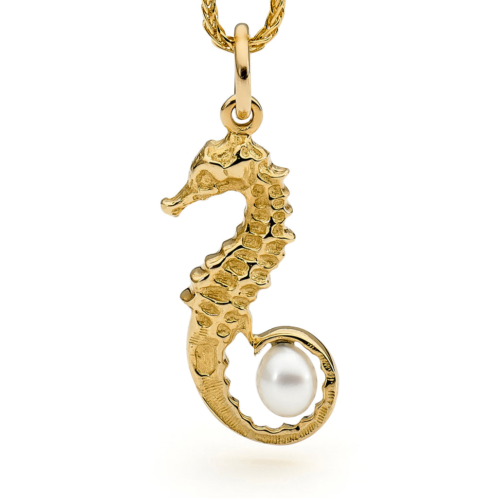 Gold Pearl Seahorse Pendant