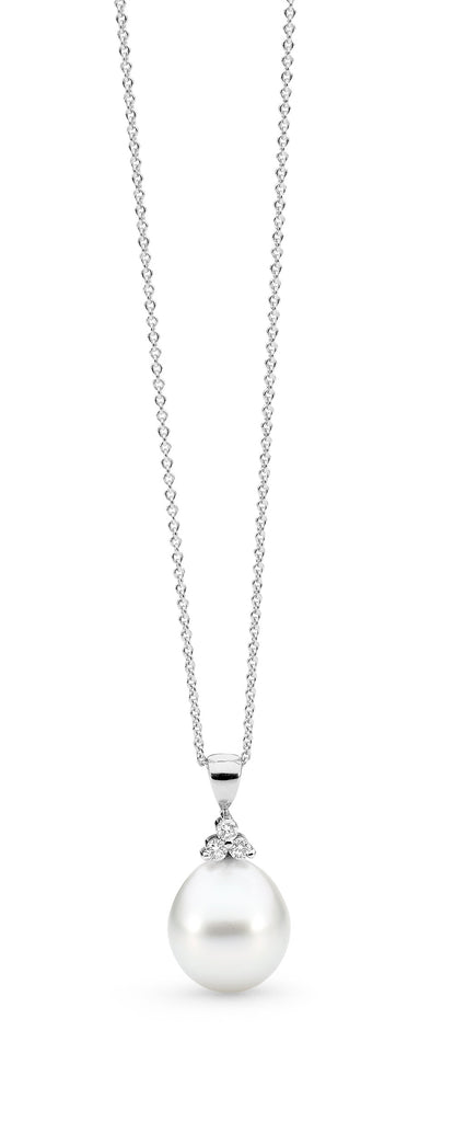 White Classic Trefoil Diamond White Gold Pendant Perth online jewellery shop