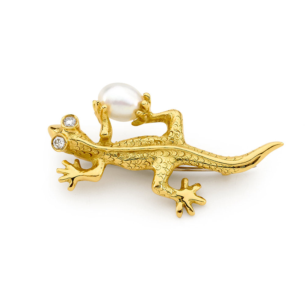 Australian Pearl and Diamond Gecko Brooch