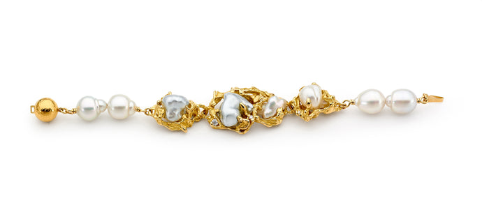 18ct Yellow Gold, Pearl and Diamond Bracelet