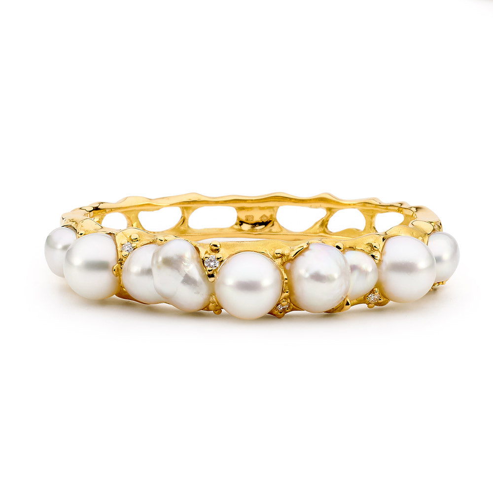 Hand carved free-form style pearl and diamond bangle  online jewellery shop buy jewellery online jewellers in perth perth jewellery stores wedding jewellery australia gold jewellery perth