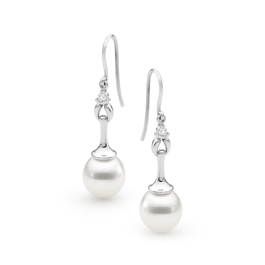 11-12mm Pearl & White Diamond French Hook Earrings