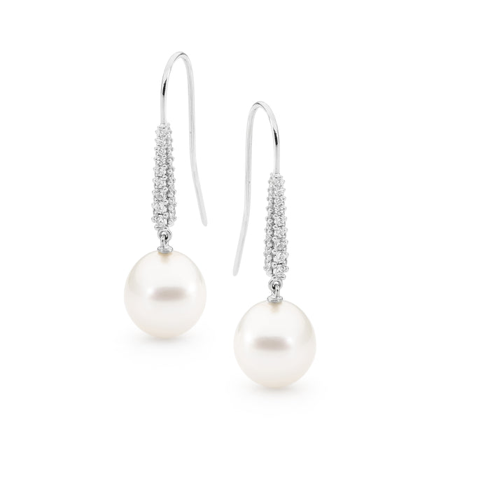 18ct White Gold Oval Pearl & Diamond French Hook Earrings
