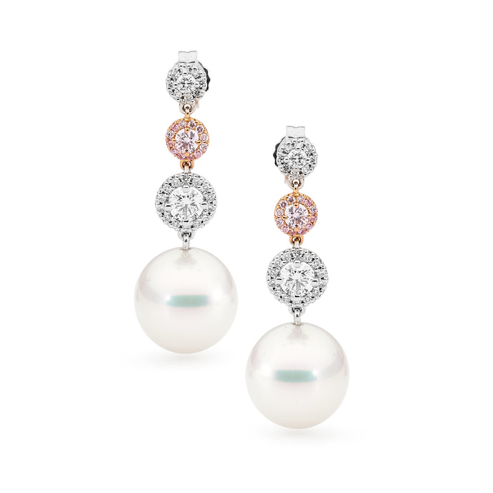 Pink Diamond Pearl Earrings