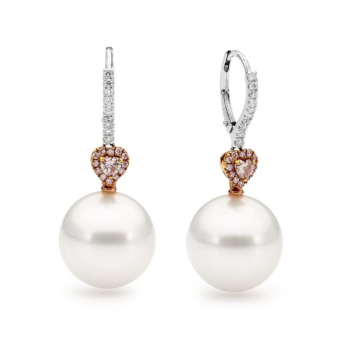 18ct White Gold Pearl and Pink Diamond Earrings