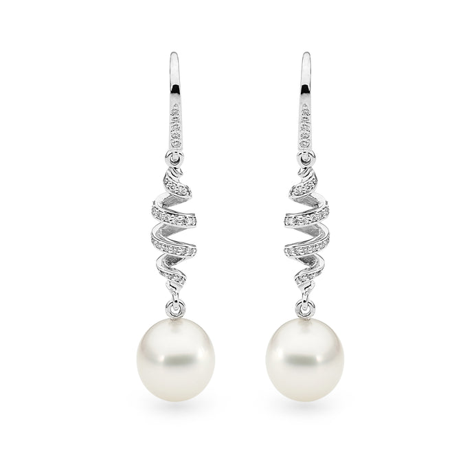 18ct White Gold Pearl & Diamond Spiral Earrings