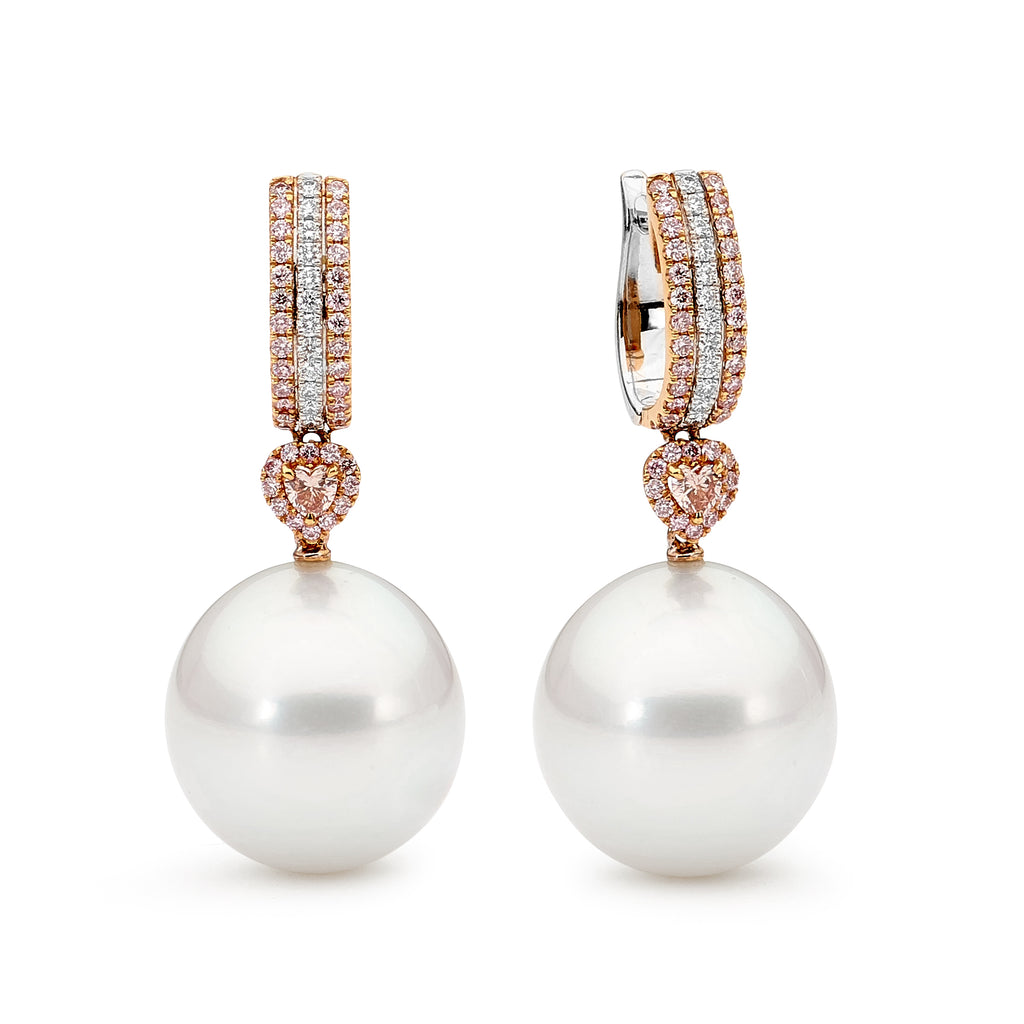 Pink Diamond and Pearl Earrings