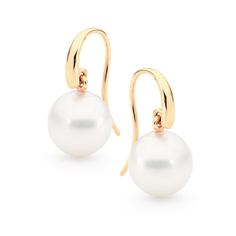 Rounded French Hook Pearl Earrings